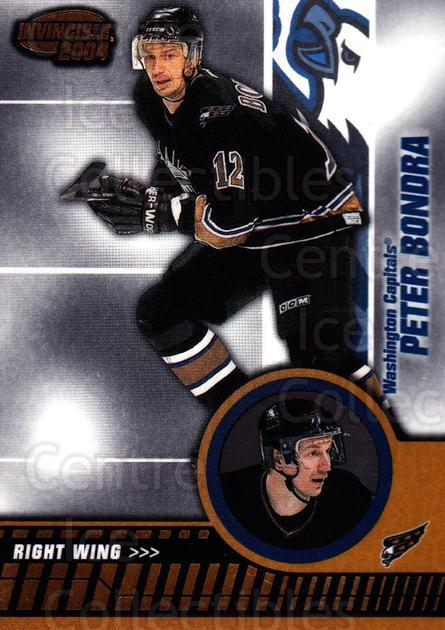 2003-04 Invincible #98 Peter Bondra<br/>9 In Stock - $1.00 each - <a href=https://centericecollectibles.foxycart.com/cart?name=2003-04%20Invincible%20%2398%20Peter%20Bondra...&quantity_max=9&price=$1.00&code=445068 class=foxycart> Buy it now! </a>