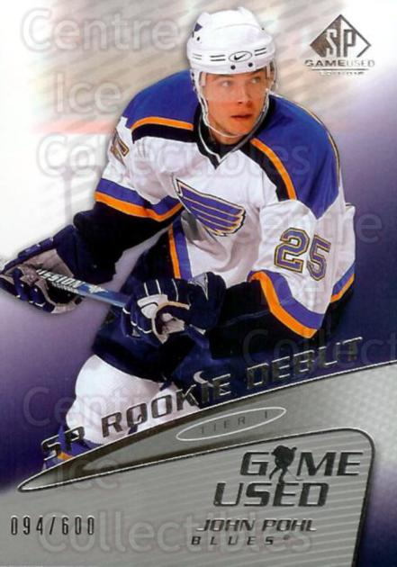 2003-04 SP Game Used #124 John Pohl<br/>4 In Stock - $3.00 each - <a href=https://centericecollectibles.foxycart.com/cart?name=2003-04%20SP%20Game%20Used%20%23124%20John%20Pohl...&quantity_max=4&price=$3.00&code=445360 class=foxycart> Buy it now! </a>