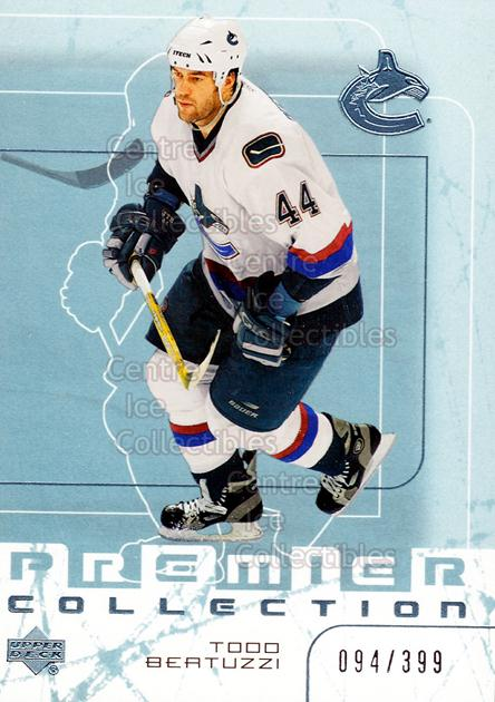 2003-04 UD Premier Collection #57 Todd Bertuzzi<br/>2 In Stock - $3.00 each - <a href=https://centericecollectibles.foxycart.com/cart?name=2003-04%20UD%20Premier%20Collection%20%2357%20Todd%20Bertuzzi...&quantity_max=2&price=$3.00&code=445642 class=foxycart> Buy it now! </a>