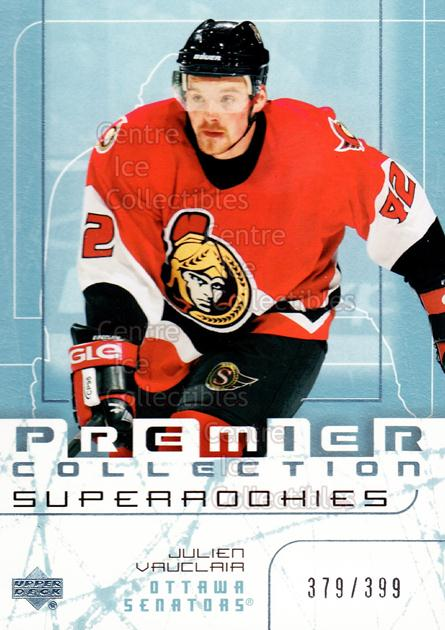 2003-04 UD Premier Collection #83 Julien Vauclair<br/>3 In Stock - $5.00 each - <a href=https://centericecollectibles.foxycart.com/cart?name=2003-04%20UD%20Premier%20Collection%20%2383%20Julien%20Vauclair...&quantity_max=3&price=$5.00&code=445668 class=foxycart> Buy it now! </a>