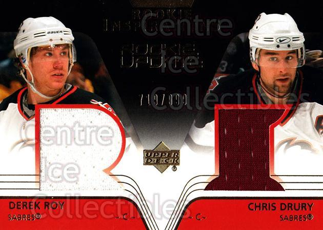 2003-04 Upper Deck Rookie Update #173 Derek Roy, Chris Drury<br/>1 In Stock - $5.00 each - <a href=https://centericecollectibles.foxycart.com/cart?name=2003-04%20Upper%20Deck%20Rookie%20Update%20%23173%20Derek%20Roy,%20Chri...&quantity_max=1&price=$5.00&code=445976 class=foxycart> Buy it now! </a>