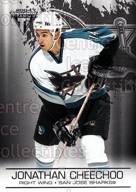 2003-04 Titanium Retail #86 Jonathan Cheechoo<br/>5 In Stock - $1.00 each - <a href=https://centericecollectibles.foxycart.com/cart?name=2003-04%20Titanium%20Retail%20%2386%20Jonathan%20Cheech...&quantity_max=5&price=$1.00&code=446195 class=foxycart> Buy it now! </a>