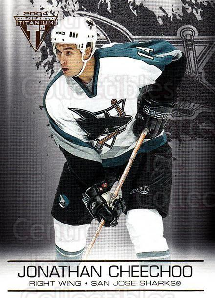 2003-04 Titanium #86 Jonathan Cheechoo<br/>4 In Stock - $1.00 each - <a href=https://centericecollectibles.foxycart.com/cart?name=2003-04%20Titanium%20%2386%20Jonathan%20Cheech...&quantity_max=4&price=$1.00&code=446385 class=foxycart> Buy it now! </a>