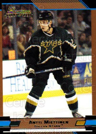 2003-04 Bowman Gold #150 Antti Miettinen<br/>1 In Stock - $3.00 each - <a href=https://centericecollectibles.foxycart.com/cart?name=2003-04%20Bowman%20Gold%20%23150%20Antti%20Miettinen...&quantity_max=1&price=$3.00&code=446664 class=foxycart> Buy it now! </a>