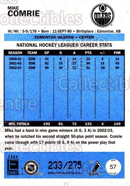 2003-04 Pacific Exhibit Blue Backs #57 Mike Comrie<br/>3 In Stock - $3.00 each - <a href=https://centericecollectibles.foxycart.com/cart?name=2003-04%20Pacific%20Exhibit%20Blue%20Backs%20%2357%20Mike%20Comrie...&quantity_max=3&price=$3.00&code=447451 class=foxycart> Buy it now! </a>