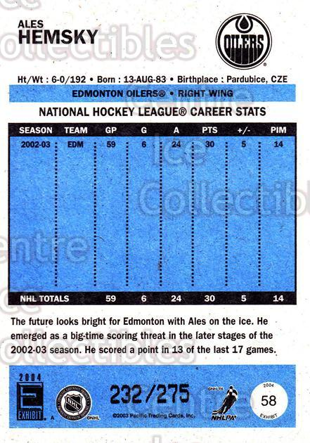 2003-04 Pacific Exhibit Blue Backs #58 Ales Hemsky<br/>3 In Stock - $3.00 each - <a href=https://centericecollectibles.foxycart.com/cart?name=2003-04%20Pacific%20Exhibit%20Blue%20Backs%20%2358%20Ales%20Hemsky...&quantity_max=3&price=$3.00&code=447452 class=foxycart> Buy it now! </a>