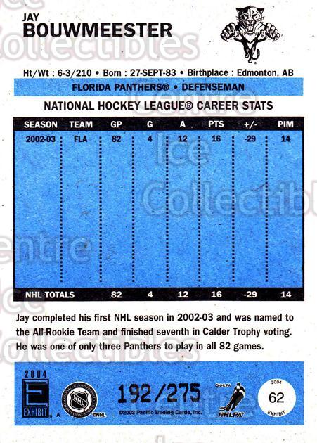 2003-04 Pacific Exhibit Blue Backs #62 Jay Bouwmeester<br/>3 In Stock - $3.00 each - <a href=https://centericecollectibles.foxycart.com/cart?name=2003-04%20Pacific%20Exhibit%20Blue%20Backs%20%2362%20Jay%20Bouwmeester...&quantity_max=3&price=$3.00&code=447457 class=foxycart> Buy it now! </a>