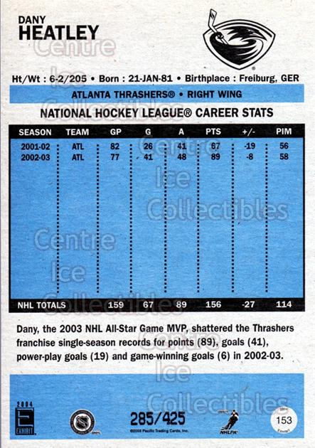 2003-04 Pacific Exhibit Blue Backs #153 Dany Heatley<br/>2 In Stock - $5.00 each - <a href=https://centericecollectibles.foxycart.com/cart?name=2003-04%20Pacific%20Exhibit%20Blue%20Backs%20%23153%20Dany%20Heatley...&quantity_max=2&price=$5.00&code=447597 class=foxycart> Buy it now! </a>