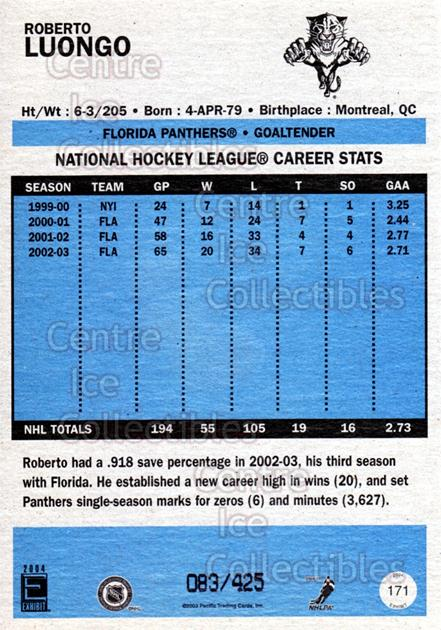 2003-04 Pacific Exhibit Blue Backs #171 Roberto Luongo<br/>4 In Stock - $5.00 each - <a href=https://centericecollectibles.foxycart.com/cart?name=2003-04%20Pacific%20Exhibit%20Blue%20Backs%20%23171%20Roberto%20Luongo...&quantity_max=4&price=$5.00&code=447616 class=foxycart> Buy it now! </a>