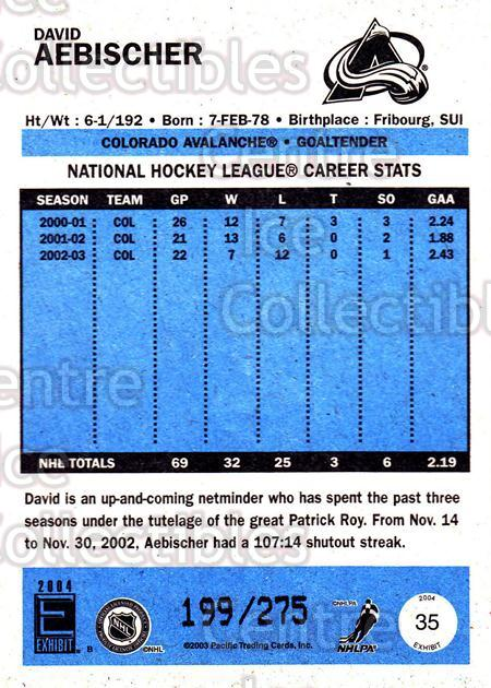 2003-04 Pacific Exhibit Blue Backs #35 David Aebischer<br/>2 In Stock - $3.00 each - <a href=https://centericecollectibles.foxycart.com/cart?name=2003-04%20Pacific%20Exhibit%20Blue%20Backs%20%2335%20David%20Aebischer...&quantity_max=2&price=$3.00&code=447662 class=foxycart> Buy it now! </a>