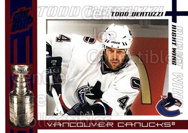 2003-04 Pacific Quest for the Cup Blue #97 Todd Bertuzzi<br/>1 In Stock - $3.00 each - <a href=https://centericecollectibles.foxycart.com/cart?name=2003-04%20Pacific%20Quest%20for%20the%20Cup%20Blue%20%2397%20Todd%20Bertuzzi...&quantity_max=1&price=$3.00&code=448167 class=foxycart> Buy it now! </a>