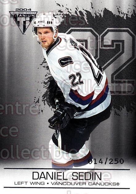 2003-04 Titanium Retail Jersey Number Parallels #96 Daniel Sedin<br/>7 In Stock - $3.00 each - <a href=https://centericecollectibles.foxycart.com/cart?name=2003-04%20Titanium%20Retail%20Jersey%20Number%20Parallels%20%2396%20Daniel%20Sedin...&price=$3.00&code=449225 class=foxycart> Buy it now! </a>