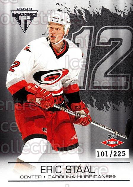 2003-04 Titanium Retail Jersey Number Parallels #106 Eric Staal<br/>4 In Stock - $5.00 each - <a href=https://centericecollectibles.foxycart.com/cart?name=2003-04%20Titanium%20Retail%20Jersey%20Number%20Parallels%20%23106%20Eric%20Staal...&quantity_max=4&price=$5.00&code=449235 class=foxycart> Buy it now! </a>