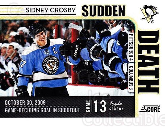 2010-11 Score Sudden Death #1 Sidney Crosby<br/>1 In Stock - $3.00 each - <a href=https://centericecollectibles.foxycart.com/cart?name=2010-11%20Score%20Sudden%20Death%20%231%20Sidney%20Crosby...&quantity_max=1&price=$3.00&code=453536 class=foxycart> Buy it now! </a>