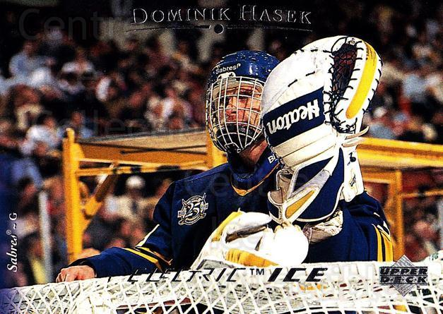 1995-96 Upper Deck Electric Ice #104 Dominik Hasek<br/>1 In Stock - $2.00 each - <a href=https://centericecollectibles.foxycart.com/cart?name=1995-96%20Upper%20Deck%20Electric%20Ice%20%23104%20Dominik%20Hasek...&quantity_max=1&price=$2.00&code=45517 class=foxycart> Buy it now! </a>