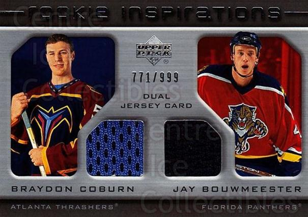 2005-06 Upper Deck Rookie Update #196 Braydon Coburn, Jay Bouwmeester<br/>1 In Stock - $10.00 each - <a href=https://centericecollectibles.foxycart.com/cart?name=2005-06%20Upper%20Deck%20Rookie%20Update%20%23196%20Braydon%20Coburn,...&quantity_max=1&price=$10.00&code=459616 class=foxycart> Buy it now! </a>