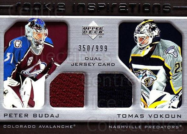 2005-06 Upper Deck Rookie Update #205 Peter Budaj, Tomas Vokoun<br/>1 In Stock - $10.00 each - <a href=https://centericecollectibles.foxycart.com/cart?name=2005-06%20Upper%20Deck%20Rookie%20Update%20%23205%20Peter%20Budaj,%20To...&quantity_max=1&price=$10.00&code=459625 class=foxycart> Buy it now! </a>
