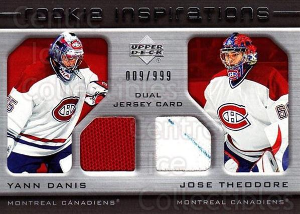 2005-06 Upper Deck Rookie Update #213 Yann Danis, Jose Theodore<br/>1 In Stock - $10.00 each - <a href=https://centericecollectibles.foxycart.com/cart?name=2005-06%20Upper%20Deck%20Rookie%20Update%20%23213%20Yann%20Danis,%20Jos...&quantity_max=1&price=$10.00&code=459633 class=foxycart> Buy it now! </a>