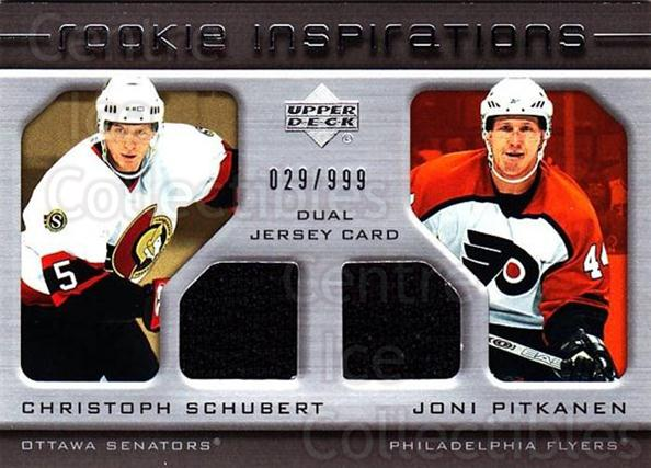 2005-06 Upper Deck Rookie Update #222 Christoph Schubert, Joni Pitkanen<br/>1 In Stock - $10.00 each - <a href=https://centericecollectibles.foxycart.com/cart?name=2005-06%20Upper%20Deck%20Rookie%20Update%20%23222%20Christoph%20Schub...&quantity_max=1&price=$10.00&code=459642 class=foxycart> Buy it now! </a>