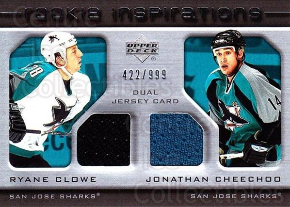 2005-06 Upper Deck Rookie Update #231 Ryane Clowe, Jonathan Cheechoo<br/>1 In Stock - $10.00 each - <a href=https://centericecollectibles.foxycart.com/cart?name=2005-06%20Upper%20Deck%20Rookie%20Update%20%23231%20Ryane%20Clowe,%20Jo...&quantity_max=1&price=$10.00&code=459651 class=foxycart> Buy it now! </a>
