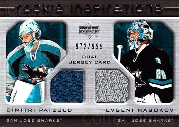 2005-06 Upper Deck Rookie Update #244 Dmitri Patzold, Evgeni Nabokov<br/>1 In Stock - $10.00 each - <a href=https://centericecollectibles.foxycart.com/cart?name=2005-06%20Upper%20Deck%20Rookie%20Update%20%23244%20Dmitri%20Patzold,...&quantity_max=1&price=$10.00&code=459664 class=foxycart> Buy it now! </a>