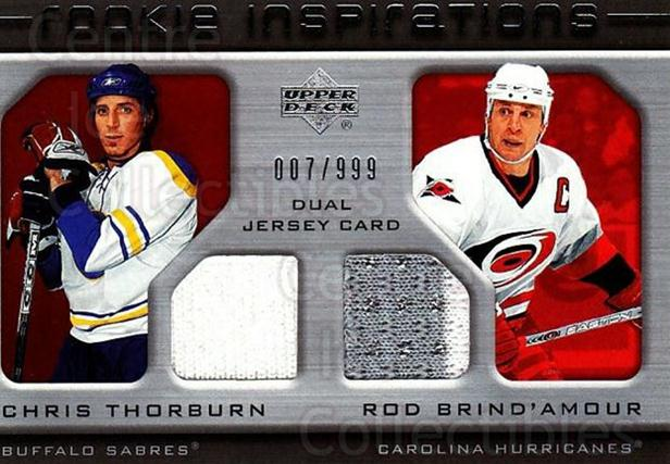 2005-06 Upper Deck Rookie Update #251 Chris Thorburn, Rod Brind'Amour<br/>1 In Stock - $10.00 each - <a href=https://centericecollectibles.foxycart.com/cart?name=2005-06%20Upper%20Deck%20Rookie%20Update%20%23251%20Chris%20Thorburn,...&quantity_max=1&price=$10.00&code=459671 class=foxycart> Buy it now! </a>