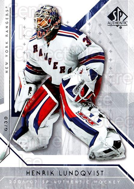 2006-07 SP Authentic #38 Henrik Lundqvist<br/>4 In Stock - $2.00 each - <a href=https://centericecollectibles.foxycart.com/cart?name=2006-07%20SP%20Authentic%20%2338%20Henrik%20Lundqvis...&quantity_max=4&price=$2.00&code=462218 class=foxycart> Buy it now! </a>