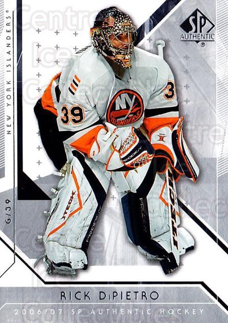 2006-07 SP Authentic #41 Rick DiPietro<br/>6 In Stock - $1.00 each - <a href=https://centericecollectibles.foxycart.com/cart?name=2006-07%20SP%20Authentic%20%2341%20Rick%20DiPietro...&quantity_max=6&price=$1.00&code=462221 class=foxycart> Buy it now! </a>