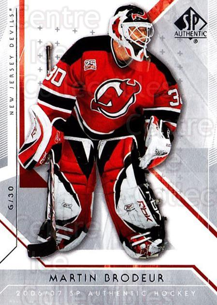 2006-07 SP Authentic #43 Martin Brodeur<br/>5 In Stock - $2.00 each - <a href=https://centericecollectibles.foxycart.com/cart?name=2006-07%20SP%20Authentic%20%2343%20Martin%20Brodeur...&quantity_max=5&price=$2.00&code=462223 class=foxycart> Buy it now! </a>