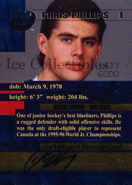 1996 Edge Ice Future Legends Autographed #1 Chris Phillips<br/>4 In Stock - $5.00 each - <a href=https://centericecollectibles.foxycart.com/cart?name=1996%20Edge%20Ice%20Future%20Legends%20Autographed%20%231%20Chris%20Phillips...&quantity_max=4&price=$5.00&code=46222 class=foxycart> Buy it now! </a>