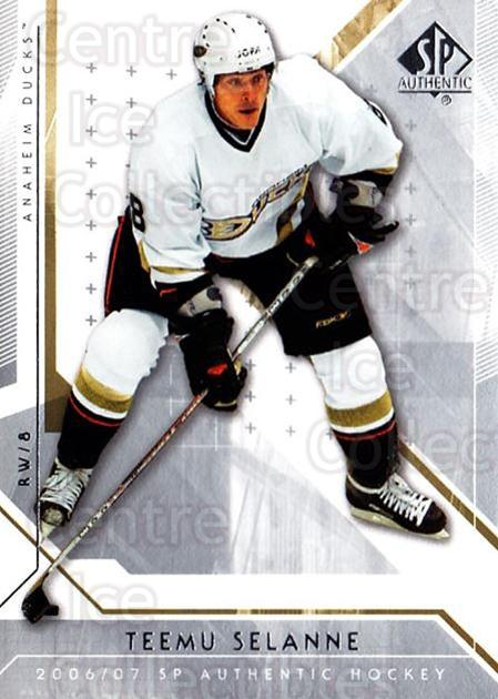 2006-07 SP Authentic #100 Teemu Selanne<br/>7 In Stock - $2.00 each - <a href=https://centericecollectibles.foxycart.com/cart?name=2006-07%20SP%20Authentic%20%23100%20Teemu%20Selanne...&quantity_max=7&price=$2.00&code=462280 class=foxycart> Buy it now! </a>
