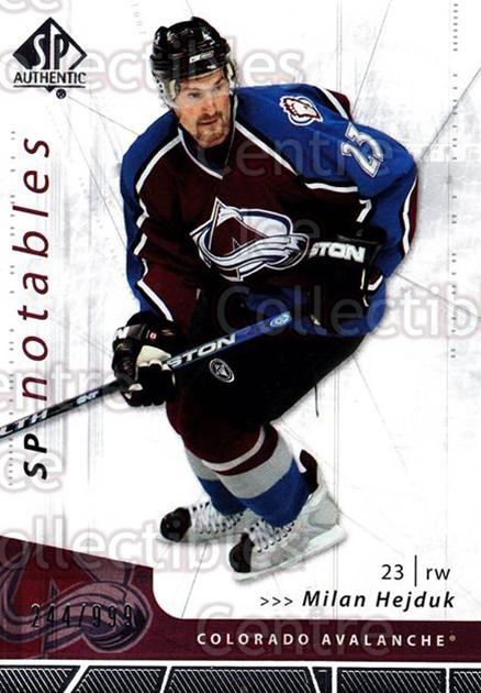 2006-07 SP Authentic #141 Milan Hejduk<br/>1 In Stock - $2.00 each - <a href=https://centericecollectibles.foxycart.com/cart?name=2006-07%20SP%20Authentic%20%23141%20Milan%20Hejduk...&quantity_max=1&price=$2.00&code=462321 class=foxycart> Buy it now! </a>