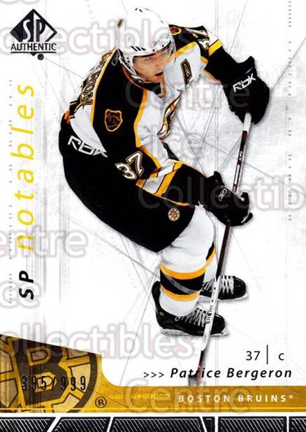 2006-07 SP Authentic #143 Patrice Bergeron<br/>1 In Stock - $2.00 each - <a href=https://centericecollectibles.foxycart.com/cart?name=2006-07%20SP%20Authentic%20%23143%20Patrice%20Bergero...&quantity_max=1&price=$2.00&code=462323 class=foxycart> Buy it now! </a>