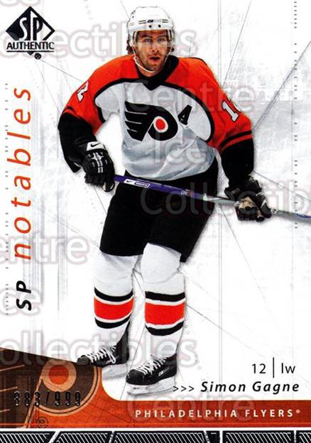 2006-07 SP Authentic #156 Simon Gagne<br/>3 In Stock - $5.00 each - <a href=https://centericecollectibles.foxycart.com/cart?name=2006-07%20SP%20Authentic%20%23156%20Simon%20Gagne...&quantity_max=3&price=$5.00&code=462336 class=foxycart> Buy it now! </a>