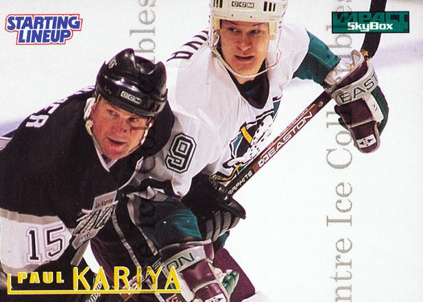 1996 Kenner Starting Lineup Cards #8 Paul Kariya<br/>15 In Stock - $5.00 each - <a href=https://centericecollectibles.foxycart.com/cart?name=1996%20Kenner%20Starting%20Lineup%20Cards%20%238%20Paul%20Kariya...&quantity_max=15&price=$5.00&code=46494 class=foxycart> Buy it now! </a>