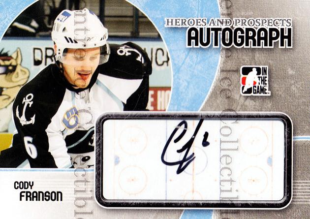 2007-08 ITG Heroes and Prospects Auto Update #ACF Cody Franson<br/>1 In Stock - $5.00 each - <a href=https://centericecollectibles.foxycart.com/cart?name=2007-08%20ITG%20Heroes%20and%20Prospects%20Auto%20Update%20%23ACF%20Cody%20Franson...&quantity_max=1&price=$5.00&code=467108 class=foxycart> Buy it now! </a>