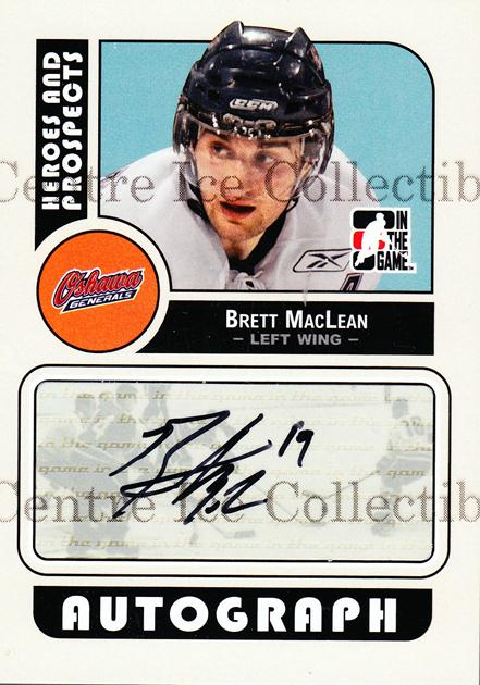 2008-09 ITG Heroes and Prospects Auto #ABML Brett MacLean<br/>2 In Stock - $5.00 each - <a href=https://centericecollectibles.foxycart.com/cart?name=2008-09%20ITG%20Heroes%20and%20Prospects%20Auto%20%23ABML%20Brett%20MacLean...&quantity_max=2&price=$5.00&code=467608 class=foxycart> Buy it now! </a>