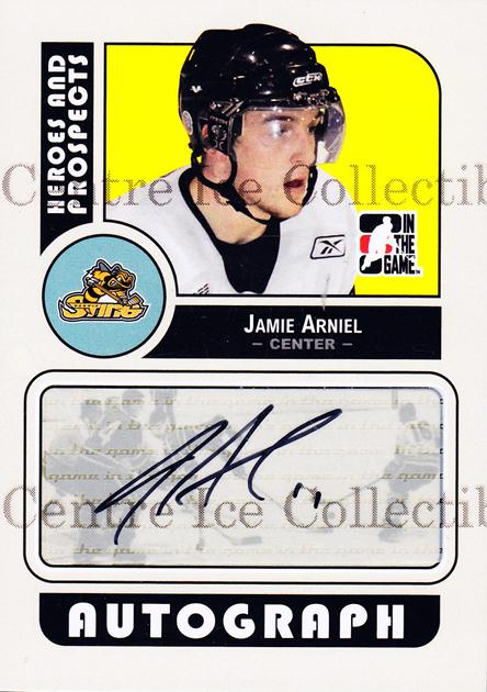 2008-09 ITG Heroes and Prospects Auto #AJA Jamie Arniel<br/>2 In Stock - $5.00 each - <a href=https://centericecollectibles.foxycart.com/cart?name=2008-09%20ITG%20Heroes%20and%20Prospects%20Auto%20%23AJA%20Jamie%20Arniel...&price=$5.00&code=467640 class=foxycart> Buy it now! </a>