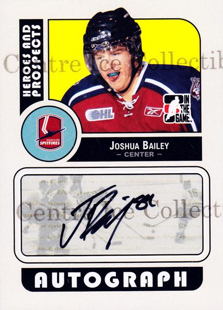 2008-09 ITG Heroes and Prospects Auto #AJBA Joshua Bailey<br/>1 In Stock - $5.00 each - <a href=https://centericecollectibles.foxycart.com/cart?name=2008-09%20ITG%20Heroes%20and%20Prospects%20Auto%20%23AJBA%20Joshua%20Bailey...&quantity_max=1&price=$5.00&code=467642 class=foxycart> Buy it now! </a>
