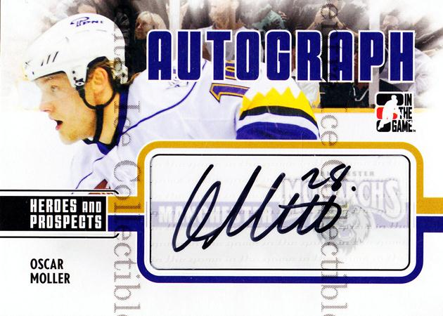 2009-10 ITG Heroes and Prospects Auto Update #AOM Oscar Moller<br/>4 In Stock - $5.00 each - <a href=https://centericecollectibles.foxycart.com/cart?name=2009-10%20ITG%20Heroes%20and%20Prospects%20Auto%20Update%20%23AOM%20Oscar%20Moller...&quantity_max=4&price=$5.00&code=467838 class=foxycart> Buy it now! </a>