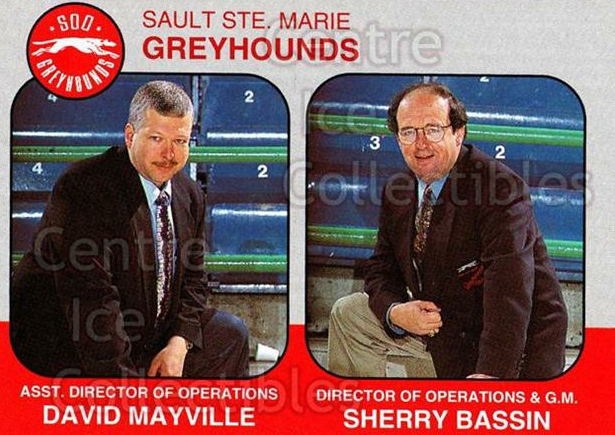 1993-94 Sault Ste. Marie Greyhounds Memorial Cup #29 David Mayville, Sherry Basin<br/>4 In Stock - $3.00 each - <a href=https://centericecollectibles.foxycart.com/cart?name=1993-94%20Sault%20Ste.%20Marie%20Greyhounds%20Memorial%20Cup%20%2329%20David%20Mayville,...&quantity_max=4&price=$3.00&code=4679 class=foxycart> Buy it now! </a>