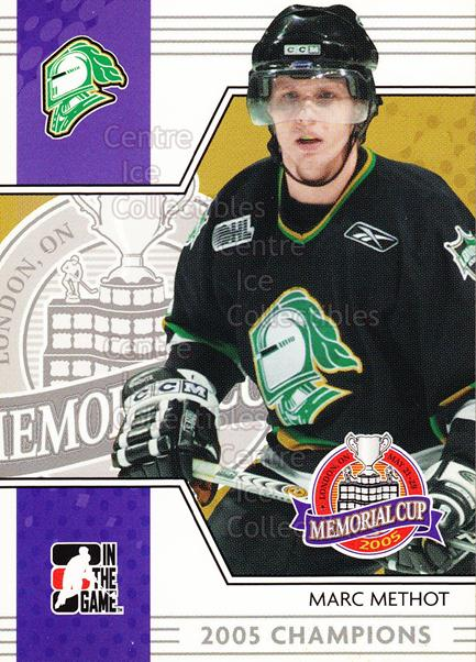 2005-06 ITG Heroes and Prospects Memorial Cup Champions #13 Marc Methot<br/>4 In Stock - $3.00 each - <a href=https://centericecollectibles.foxycart.com/cart?name=2005-06%20ITG%20Heroes%20and%20Prospects%20Memorial%20Cup%20Champions%20%2313%20Marc%20Methot...&quantity_max=4&price=$3.00&code=468077 class=foxycart> Buy it now! </a>