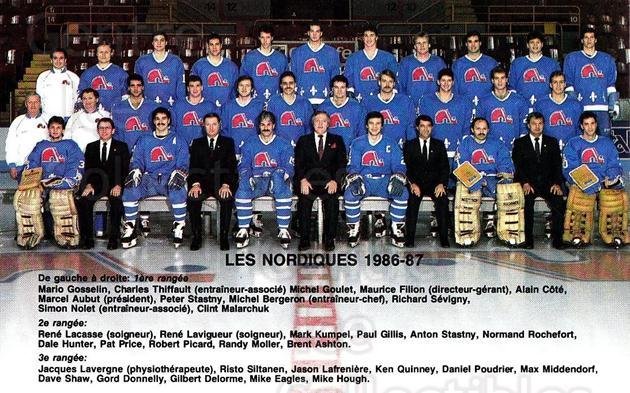 1986-87 Quebec Nordiques Team Issue #26 Team Photo, Quebec Nordiques<br/>2 In Stock - $3.00 each - <a href=https://centericecollectibles.foxycart.com/cart?name=1986-87%20Quebec%20Nordiques%20Team%20Issue%20%2326%20Team%20Photo,%20Que...&quantity_max=2&price=$3.00&code=468476 class=foxycart> Buy it now! </a>