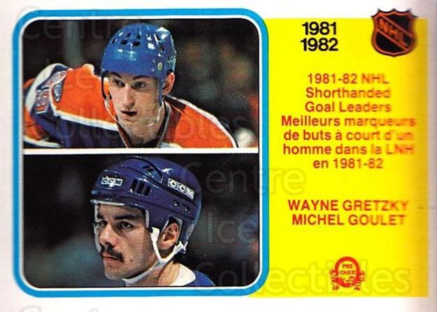 1982-83 O-Pee-Chee #237 Wayne Gretzky, Michel Goulet<br/>2 In Stock - $5.00 each - <a href=https://centericecollectibles.foxycart.com/cart?name=1982-83%20O-Pee-Chee%20%23237%20Wayne%20Gretzky,%20...&quantity_max=2&price=$5.00&code=468500 class=foxycart> Buy it now! </a>