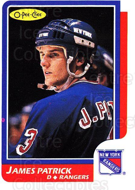 1986-87 O-Pee-Chee #113 James Patrick<br/>4 In Stock - $1.00 each - <a href=https://centericecollectibles.foxycart.com/cart?name=1986-87%20O-Pee-Chee%20%23113%20James%20Patrick...&quantity_max=4&price=$1.00&code=468552 class=foxycart> Buy it now! </a>