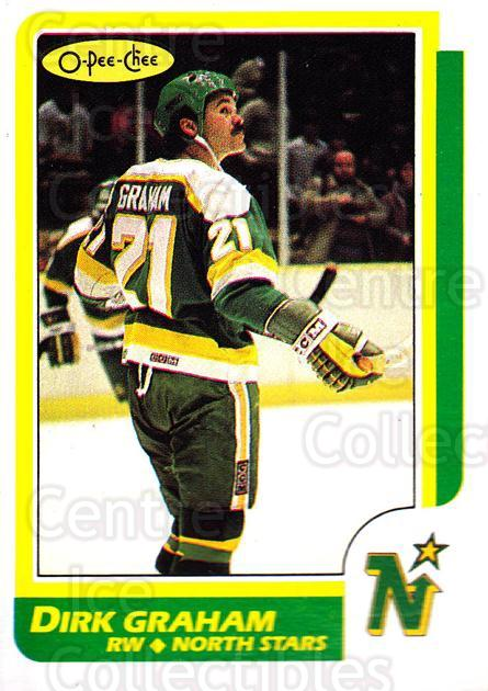 1986-87 O-Pee-Chee #143 Dirk Graham<br/>2 In Stock - $1.00 each - <a href=https://centericecollectibles.foxycart.com/cart?name=1986-87%20O-Pee-Chee%20%23143%20Dirk%20Graham...&quantity_max=2&price=$1.00&code=468556 class=foxycart> Buy it now! </a>