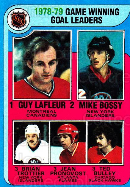 1979-80 Topps #7 Guy Lafleur, Mike Bossy, Bryan Trottier, Jean Pronovost, Ted Bulley<br/>1 In Stock - $3.00 each - <a href=https://centericecollectibles.foxycart.com/cart?name=1979-80%20Topps%20%237%20Guy%20Lafleur,%20Mi...&price=$3.00&code=468595 class=foxycart> Buy it now! </a>