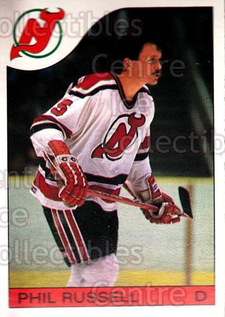 1985-86 O-Pee-Chee #30 Phil Russell<br/>3 In Stock - $1.00 each - <a href=https://centericecollectibles.foxycart.com/cart?name=1985-86%20O-Pee-Chee%20%2330%20Phil%20Russell...&quantity_max=3&price=$1.00&code=468639 class=foxycart> Buy it now! </a>