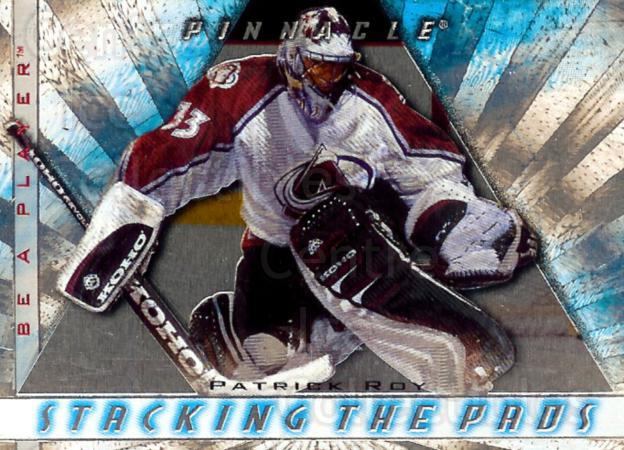 1997-98 Be A Player Stacking the Pads #4 Patrick Roy<br/>1 In Stock - $10.00 each - <a href=https://centericecollectibles.foxycart.com/cart?name=1997-98%20Be%20A%20Player%20Stacking%20the%20Pads%20%234%20Patrick%20Roy...&price=$10.00&code=469270 class=foxycart> Buy it now! </a>