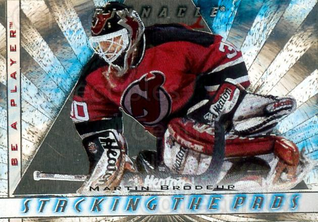1997-98 Be A Player Stacking the Pads #11 Martin Brodeur<br/>1 In Stock - $5.00 each - <a href=https://centericecollectibles.foxycart.com/cart?name=1997-98%20Be%20A%20Player%20Stacking%20the%20Pads%20%2311%20Martin%20Brodeur...&price=$5.00&code=469272 class=foxycart> Buy it now! </a>